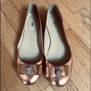 J Crew Rose Gold Bow Flats